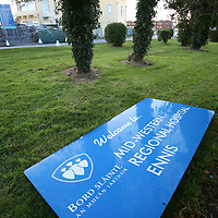 The removed Welcome sign on the ground inside the gate of the Mid West Regonal Hospital,Ennis.<br /> <br /> Photograph by Eamon Ward