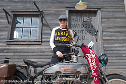 Author and Hall of Fame inductee Cris Simmons at the Harley-Davidson Museum, where the multi-acre campus acted as the central rally point during the Harley-Davidson 115th Anniversary Celebration event. Milwaukee, WI. USA. Sunday September 2, 2018. Photography ©2018 Michael Lichter.