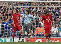 Photo: Ashley Pickering.<br /> Ipswich Town v Cardiff City. Coca Cola Championship. 06/05/2007.<br /> Cardiff goalie David Forge (c) looks on as Ipswich celebrate their third goal of the afternoon