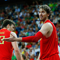 08 August 2012: Spain Pau Gasol reacts during 66-59 Team Spain victory over Team France, during the men's basketball quarter-finals, at the 02 Arena, in London, Great Britain.