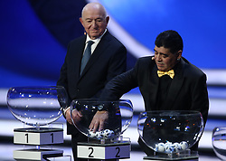 December 1, 2017 - Moscow, Russia - Draw assistant Diego Maradona picks a ball from a pot during the Final Draw for the 2018 FIFA World Cup at the State Kremlin Palace on December 01, 2017 in Moscow, Russia. (Credit Image: © Igor Russak/NurPhoto via ZUMA Press)