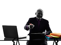 One Caucasian Senior Business Man busy working contract signing proposal Silhouette White Background