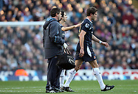 Photo: Rich Eaton.<br /> <br /> Aston Villa v West Ham. The Barclays Premiership. 03/02/2007. Matthew Upson of West Hamleaves the pitch on his debut after 30 minutes