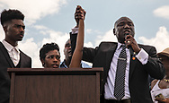 Chikesia Clemons   at a Waffle House in Saraland Alabama with her civil rights attorney Benjamin Crump at a rally in Saraland Alabama seeking justice for her, on May ,20,, 2018. . To Chikesia's left, is Anthoy Wall, a gay African American who was recently arrested outside a Waffle House in North Carolina.