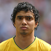 Rafael, Brazil, during the Brazil V Mexico Gold Medal Men's Football match at Wembley Stadium during the London 2012 Olympic games. London, UK. 11th August 2012. Photo Tim Clayton