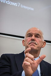 "© Licensed to London News Pictures . 11/12/2013 . Manchester , UK . The former Greek Prime Minister and President of Socialist International , GEORGE PAPANDREOU , speaks at Manchester University this evening (Wednesday 11th December 2013) on "" the Eurozone Crisis and the role of progressive politics in resolving it "" . Photo credit : Joel Goodman/LNP"