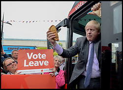 Image ©Licensed to i-Images Picture Agency. 11/05/2016. Truro, United Kingdom. Boris Johnson- Vote Leave Bus Tour. The former Mayor of London Boris Johnson launches the Vote Leave Bus Tour in Truro, Cornwall, with Gisela Stuart MP. Boris Johnson is supporting the Brexit campaign touring the country with the bus.  Picture by Andrew Parsons / i-Images