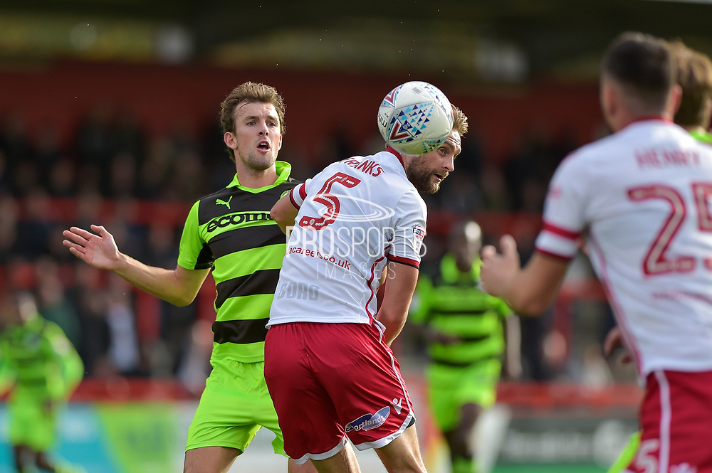 Forest Green Rovers Christian Doidge(9)wins a header Stevenage Defender, Fraser Franks (5) during the EFL Sky Bet League 2 match between Stevenage and Forest Green Rovers at the Lamex Stadium, Stevenage, England on 21 October 2017. Photo by Adam Rivers.