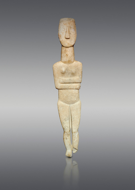 Marble female Cycladic statue figurine with folded arms of the Spedos type. Early Cycladic Period II (2800-3200) from Naxos, Cat No 20934. National Archaeological Museum, Athens.   Grey background.<br /> <br /> <br /> One of the largest known Cycladic statues at 89CM tall this figurine still has traces of a colour on the hair and eyes. .<br /> <br /> If you prefer to buy from our ALAMY PHOTO LIBRARY  Collection visit : https://www.alamy.com/portfolio/paul-williams-funkystock/cycladic-art-artefacts.html Type into the LOWER SEARCH WITHIN GALLERY box to refine search by adding background colour, place, museum etc<br /> <br /> Visit our CYCLADIC CIVILISATIONS PHOTO COLLECTIONS for more photos to download or buy as wall art prints https://funkystock.photoshelter.com/gallery-collection/Cycladic-civilisation-Ancient-Greek-Artefacts-art-Photos-Pictures-Images/C0000CmevVvnC.XU