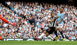 Newcastle United's DeAndre Yedlin scores his side's first goal of the game during the Premier League match at the Etihad Stadium, Manchester.