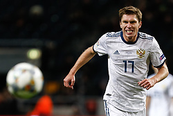 November 20, 2018 - Stockholm, Sweden - Kirill Nababkin of Russia reacts during the UEFA Nations League B Group 2 match between Sweden and Russia on November 20, 2018 at Friends Arena in Stockholm, Sweden. (Credit Image: © Mike Kireev/NurPhoto via ZUMA Press)