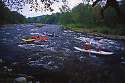 Kayaks and canoes on Lehigh River, Carbon County, Northeast PA