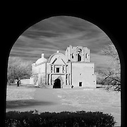Looking out at the Tumacacori Mission through an alcove. in infrared.