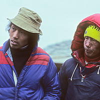 Sherpa mountaineers Ang Lakpa and Pasang (Namche) watch a demonstration at a climbing school operated by Mountain Travel Nepal in September, 1980.