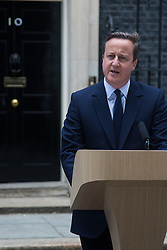"Downing Street, London, June 21st 2016.  British Prime Minister David Cameron addresses the media outside 10 Downing Street, warning of the ""irreversible decision"" that the EU referendum presents.."