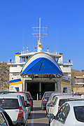 Vehicle ferry line of cars waiting to embark, Gozo Channel Line Ferries, Mgarr ferry terminal, Gozo, Malta
