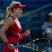 August 16, 2014, New Haven, CT:<br /> Eugenie Bouchard reacts during during a match against Bojana Jovanovski on day four of the 2014 Connecticut Open at the Yale University Tennis Center in New Haven, Connecticut Monday, August 18, 2014.<br /> (Photo by Billie Weiss/Connecticut Open)