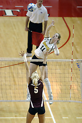 24 November 2006: Lindsey Eckenrode strikes towards Katelyn Panzau during a Semi-final match between the Missouri State Bears and the Wichita State Shockers. The Tournament was held at Redbird Arena on the campus of Illinois State University in Normal Illinois.<br />
