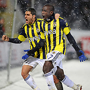 Fenerbahce's Mamadou NIANG (R) celebrate his goal during their Turkish Superleague soccer match Genclerbirligi between Fenerbahce at the 19 Mayis stadium in Ankara Turkey on Monday 07 March 2011. Photo by TURKPIX