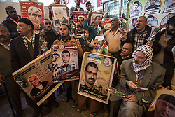 April 3, 2017 - Gaza City, The Gaza Strip, Palestine - Palestinians gathering at the Red Cross headquarters in Gaza city for their weekly solidarity sit with their relatives in the Israeli jails. (Credit Image: © Mahmoud Issa/Quds Net News via ZUMA Wire)