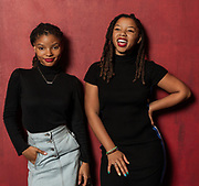 Sisters Halle and Chloe Bailey pose for a portait at the House of Blues Friday September 14, 2018. The duo form the R&B group Chloe X Halle. (Michael Starghill, Jr.)
