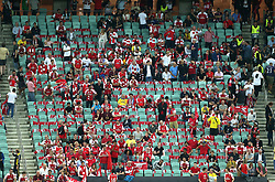Arsenal fans in the stands with empty seats during the UEFA Europa League final at The Olympic Stadium, Baku, Azerbaijan.