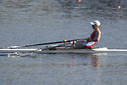 Hazenwinkel, BELGIUM,  Women's Lightweight single scull. LW1X. Andrea DENNIS, in the last strokes of the morning time trial, at the GB Rowing Senior Trials, on Sun,15.04.2007  [Credit, Peter Spurrier/Intersport-images]   [Mandatory Credit, Peter Spurier/ Intersport Images]. , Rowing Course, Bloso, Hazewinkel. BELGUIM