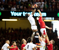 Maro Itoje of England is unable to gather cleanly<br /> <br /> Photographer Simon King/Replay Images<br /> <br /> Friendly - Wales v England - Saturday 17th August 2019 - Principality Stadium - Cardiff<br /> <br /> World Copyright © Replay Images . All rights reserved. info@replayimages.co.uk - http://replayimages.co.uk