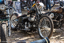 Michael Lewis' custom Harley-Davidson Flathead in the Harley-Davidson Editors Choice bike show at the Broken Spoke Saloon. Daytona Bike Week 75th Anniversary event. FL, USA. Wednesday March 9, 2016.  Photography ©2016 Michael Lichter.