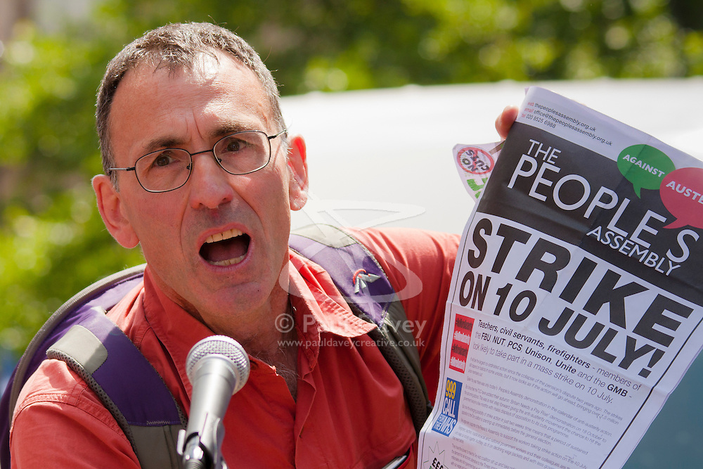 London, June 21st 2014. March organiser Xxxxx Xxxxx calls on protesters to join a nationwide strike on July 10th.