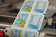 A sheet of labels printed for therapeutic food packets developed jointly by NIN, IRD and UNICEF and processed at the University of Agriculture in Hanoi, Vietnam, Southeast Asia as part of the National Institute of Nutrition Processing Unit.
