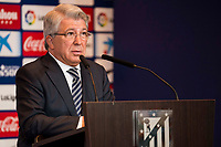 President of Atletico de Madrid, Enrique Cerezo during the presentation of Kevin Gameiro like new Atletico de Madrid's football player for the next season 2016-2017 at Vicente Calderon Stadium in Madrid. July 31, Spain. 2016. (ALTERPHOTOS/BorjaB.Hojas)