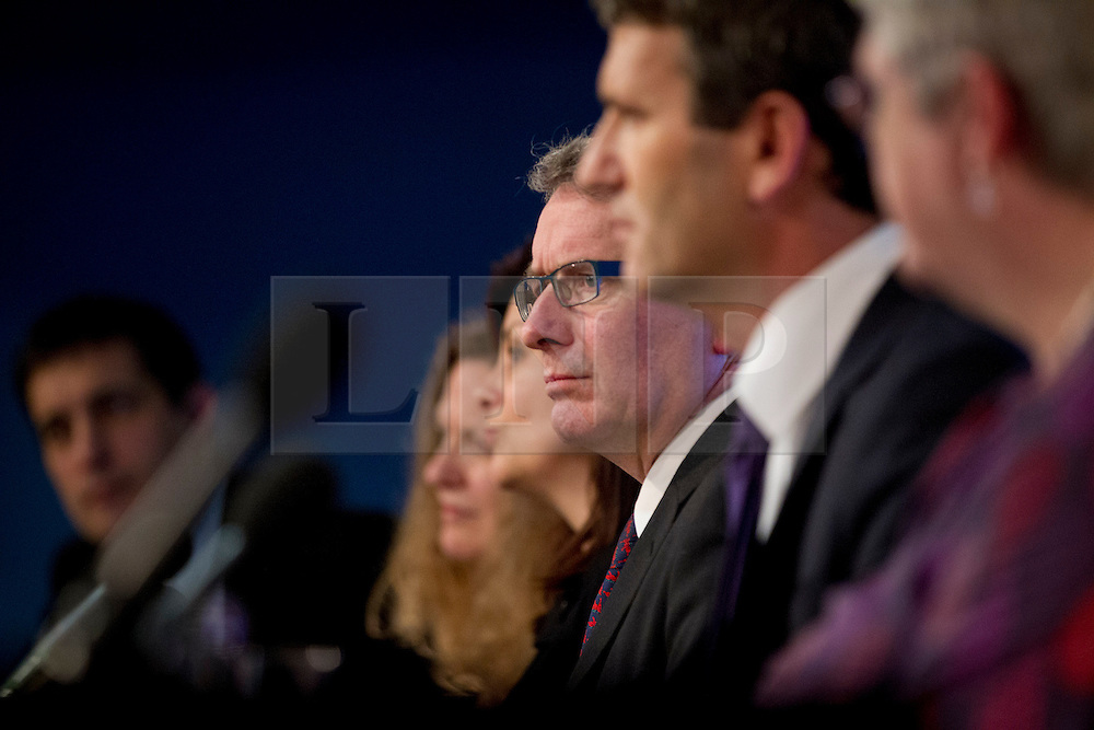 © Licensed to London News Pictures. 29/11/2012. London, UK. Professor Brian Cathcart, director of 'Hacked Off' (centre, glasses) is seen at a press conference in London today (29/11/12). The conference was called by the group as a reaction to the Leveson Inquiry which was published today. Photo credit: Matt Cetti-Roberts/LNP
