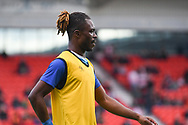 Gabriel Zakuani of Gillingham (6) warming up during the EFL Sky Bet League 1 match between Doncaster Rovers and Gillingham at the Keepmoat Stadium, Doncaster, England on 20 October 2018.