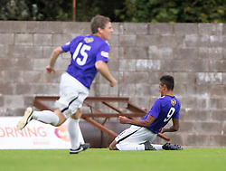East Fife's Nathan Austin (9) cele scoring their second goal. <br /> East Fife 2 v 1 Elgin City, Ladbrokes Scottish Football League Division Two game played 22/8/2015 at East Fife's home ground, Bayview Stadium.