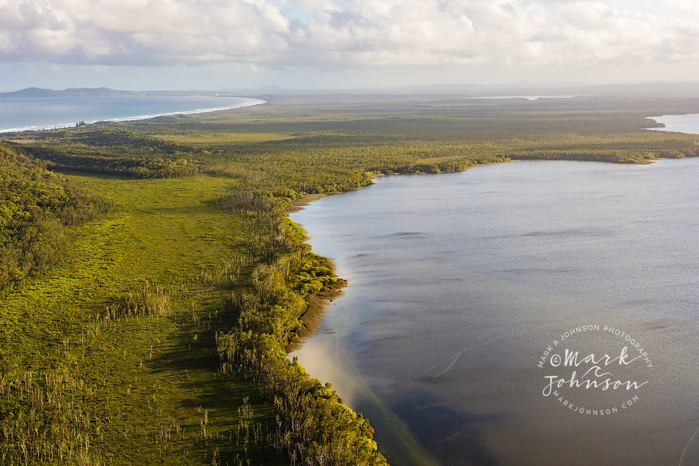 Aerial photograph of Lake Cootharaba, Great Sandy National Park, Sunshine Coast, Queensland, Australia