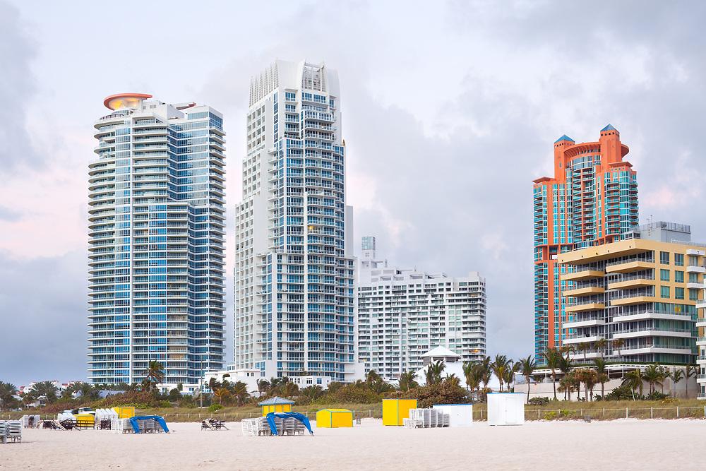 Skyline of apartment buildings at South Beach, Miami Beach, Florida, USA