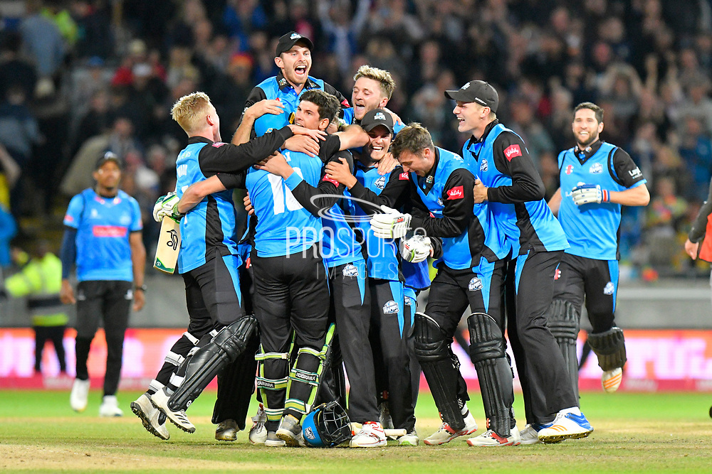 Worcestershire win the Vitality Blast - Ben Cox of Worcestershire is mobbed after scoring the winning runs to win the Vitality Blast for Worcestershire during the final of the Vitality T20 Finals Day 2018 match between Worcestershire Rapids and Sussex Sharks at Edgbaston, Birmingham, United Kingdom on 15 September 2018.