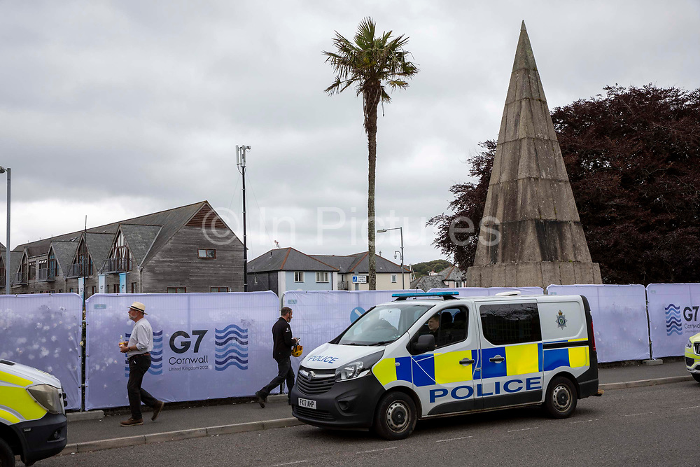 Police officers patrolling the streets around the G7 media centre on the 11th of June 2021 in Falmouth in Cornwall, United Kingdom. Over 5000 police officers from forces across the UK are in Cornwall this weekend for the G7 world leaders summit.