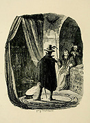 Doctor Dee, in conjunction with his Seer Edward Kelley, exhibiting his magical skill to Guy Fawkes From the book ' Guy Fawkes; or, The gunpowder treason. An historical romance ' by William Harrison Ainsworth,, with illustrations on steel by  George Cruikshank. Published in London, by George Routledge and sons, limited in 1841. Guy Fawkes (13 April 1570 – 31 January 1606), also known as Guido Fawkes while fighting for the Spanish, was a member of a group of provincial English Catholics who was involved in the failed Gunpowder Plot of 1605. He was born and educated in York; his father died when Fawkes was eight years old, after which his mother married a recusant Catholic.