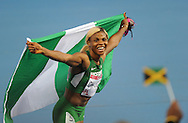 Commonwealth Games, Glasgow 2014<br />  Athletics, Hampden Park.<br /> <br /> Women's 100m Final<br /> Blessing Okagbare of Nigeria wins the 100 meters  title<br /> <br /> <br />  Neil Hanna Photography<br /> www.neilhannaphotography.co.uk<br /> 07702 246823