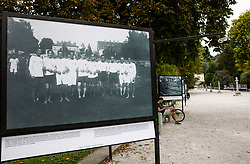 Photo of Celje's athletic team made on September 25, 1920 during Opening ceremony of photo exhibition at 100 years Anniversary of Slovenian Athletic Federation, on September 17, 2020 in Tivoli park, Jakopicevo sprehajalisce, Ljubljana, Slovenia. Photo by Vid Ponikvar / Sportida