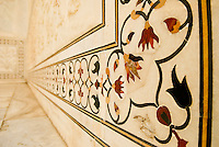Stones Set in Marble  - Floral 'Parchin kari' inlay work, incorporating precious and semi-precious stones in the Taj Mahal in Agra, Uttar Pradesh, India