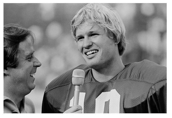 Ken Naber being interviewed by Ron Barr following the Stanford - UCLA game at Stanford Stadium in October 1979.<br /> <br /> © 1979 David Madison