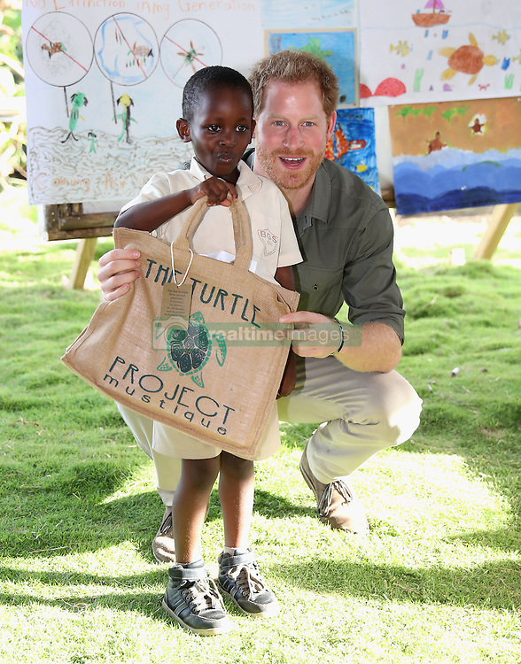Prince Harry during a visit to a Turtle Conservation Project at Colonarie Beach, Saint Vincent and the Grenadines, during the second leg of his Caribbean tour.