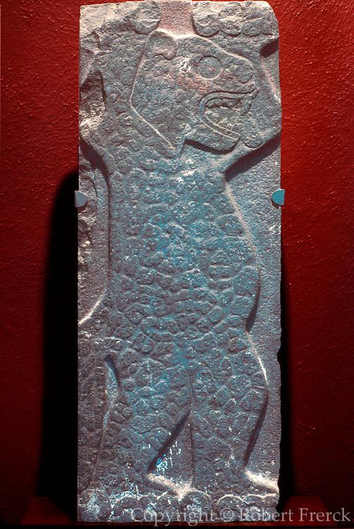 MEXICO, MEXICO CITY, MUSEUM Toltec; relief of a dancing jaguar