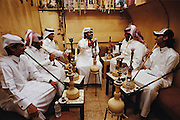 QATAR. Doha. Traditional coffee shop...In addition to the new web bars of the souk, Qataris also like to go in more traditional places. Here, a coffee held by Iranians for more than 40 years and where one can smoke the guedou (kind of chicha)..
