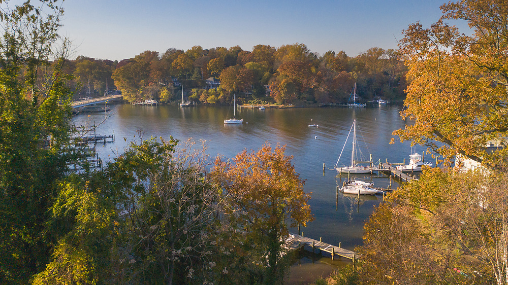 Aerial view of Annapolis Maryland rooftops and sailboats on Weems Creek