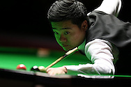 Ding Junhui of China in action during his 1st round match against Robin Hull of Finland .  Coral Welsh Open Snooker 2017, day 2 at the Motorpoint Arena in Cardiff, South Wales on Tuesday 14th February 2017.<br /> pic by Andrew Orchard, Andrew Orchard sports photography.