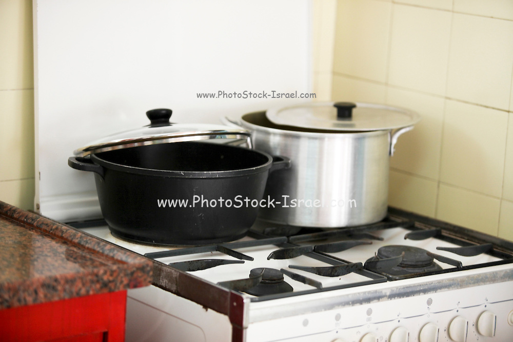 Food cooking on a gas stove